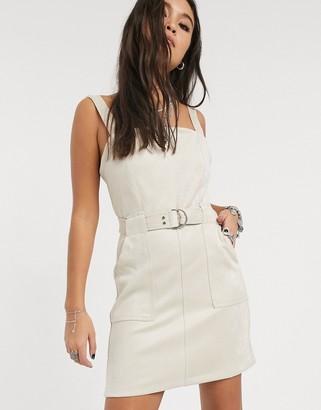 Bershka faux suede pinafore dress in ecru