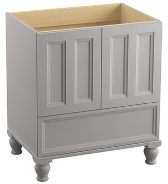 Kohler Damask 30 Vanity Base Only with Furniture Legs and 2 Doors Base Finish: Mohair Grey, Cabinet Configuration: Left doors and right drawers, Leg