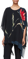 Caroline Rose You're Invited Watercolor Floral-Print Caftan, Black Multi, Plus Size