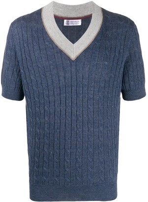 Brunello Cucinelli Cable-Knit Short-Sleeved Top