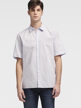DKNY Women's Fine Stripe Shirt With Split Sleeve - Blue - Size XL