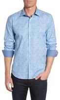 Bugatchi Men's Big & Tall Shaped Fit Optic Pattern Sport Shirt