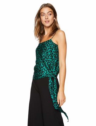 Milly Women's Leopard Printed on Silk Jacquard Tanya Cami with Side Tie
