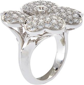 Van Cleef & Arpels Cosmos Diamond 18K White Gold Large Ring Size 55