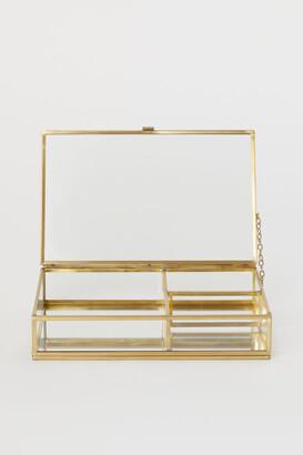 H&M Clear Glass Jewelry Box - Gold