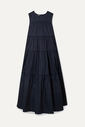 Co Tiered Cotton-sateen Midi Dress - Navy