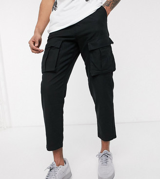 Religion Tall tapered fit cargo trousers with belt in black
