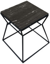 Pangea Home Prism Side Table With Marble Top, Black