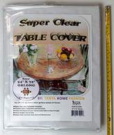 """100% Vinyl Super Clear and Durable Tablecloth Protector Size 54"""" X 72"""" Oblong"""