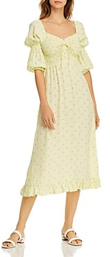 Faithfull The Brand Nora Floral Print Smocked Dress