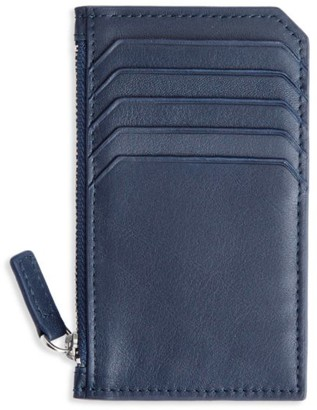 Royce New York Zippered Leather Credit Card Case