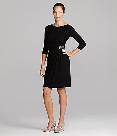 Evan Picone Jewel-Waist Jersey Dress