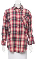 Current/Elliott Plaid Printed Button Up Top