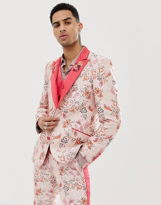 ASOS EDITION skinny suit jacket in pink floral jacquard with embroidered lapel