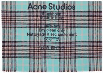 Acne Studios Blue and Purple Wool Tartan Check Scarf