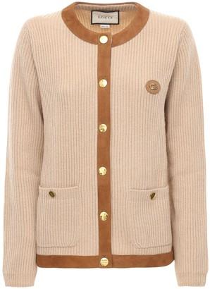 Gucci Rib Knit Camel Cardigan W/ Leather Trims