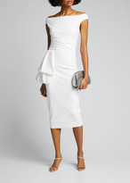 Chiara Boni Off-the-Shoulder Jersey Dress with Flap-Waist Detail