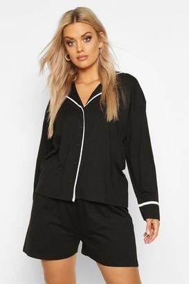 boohoo Plus Long Sleeve Button Jersey T-Shirt PJ Set