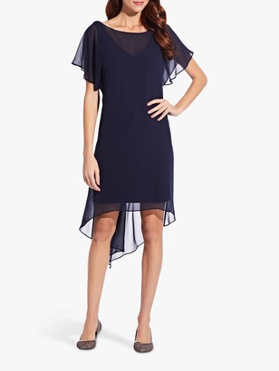 Adrianna Papell Chiffon Overlay Draped Dress, Navy
