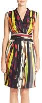 Ellen Tracy Women's Print Faux Wrap Dress
