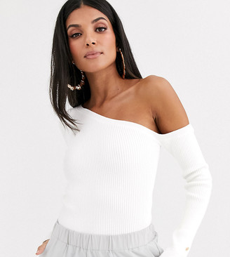 Asos Tall DESIGN Tall one shoulder rib jumper with button cuff-White