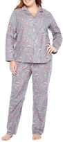 Liz Claiborne Notch Collar Flannel Pant Pajama Set-Plus