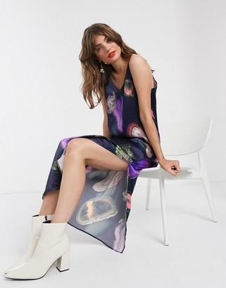 Weekday agate print satin cami dress in multi