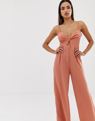 Parallel Lines wide leg jumpsuit with cut out detail and buckle back-Red