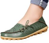 Fisca Lady Pebbled Leather Drivers Casual Flat Loafer Shoes with Breathable Hole- 39