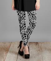 Lily Black & White Heart Leggings - Women & Plus