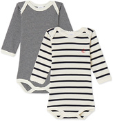 Petit Bateau Pack of 2 baby boy long-sleeved striped bodysuits