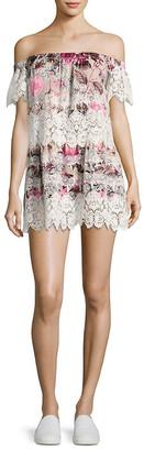 For Love & Lemons Cadence Floral Lace Mini Dress