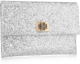 Anya Hindmarch Valorie glitter-finished clutch