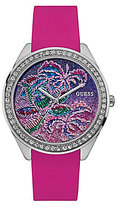 GUESS Tropical Analog Stainless Steel Silicone-Strap Watch