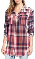 Caslon Plaid & Floral Tunic Shirt (Regular & Petite)