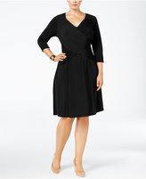 NY Collection Plus Size Crossover A-Line Dress