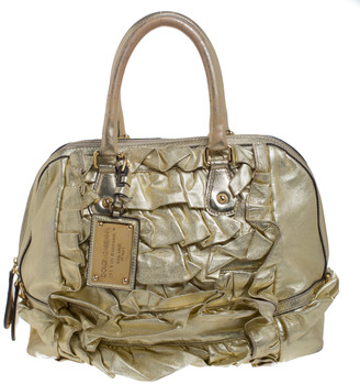 Dolce & Gabbana Metallic Gold Pleated Leather Satchel