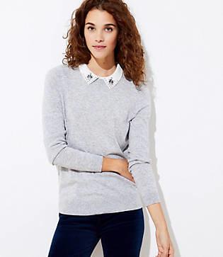 LOFT Petite Jeweled Collar Sweater