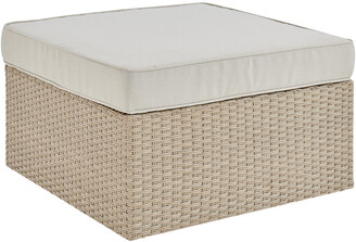 Alaterre Canaan All-Weather Wicker Outdoor 26In Square Ottoman With Cushion