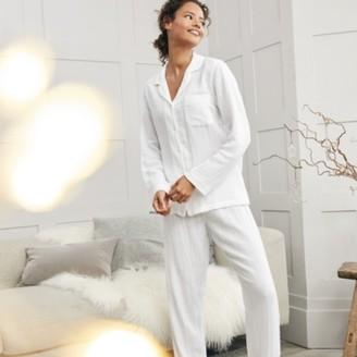 The White Company Double Cotton Pyjama Set, White, Medium