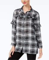 NY Collection Ruffled Plaid Shirt