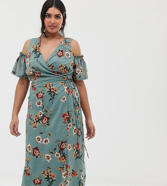 Lovedrobe cold shoulder midi dress with tie waist in teal floral-Green