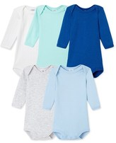 Petit Bateau Pack of 5 baby boy long-sleeved bodysuits