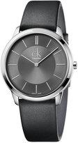 Calvin Klein minimal Men's Swiss Minimal Black Leather Strap Watch 40mm K3M211C4