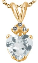 Gem Stone King 1.04 Ct Heart Shape Sky Blue Topaz White Diamond 18K Yellow Gold Pendant