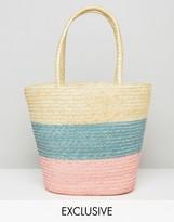 Reclaimed Vintage Pastel Stripe Straw Bag