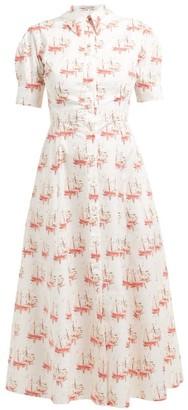 Emilia Wickstead Sienna Sailboat-print Shirtdress - Womens - Pink Print