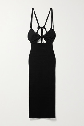 Jacquemus Pila Cutout Layered Linen-jersey Midi Dress - Black
