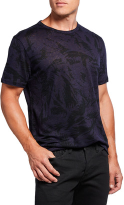 7 For All Mankind Men's Linen Palm-Print Tee