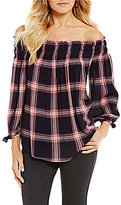 Living Doll Plaid Smocked Off-The-Shoulder Tie-Sleeve Top